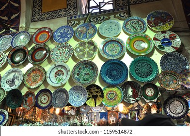 Istanbul, Turkey - June 11,2009: Ceramic shop at Istanbul Bazaar