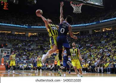 ISTANBUL / TURKEY, JUNE 13, 2019: Melih Mahmutoglu and Shane Larkin in action during Turkish Basketball Super League 2018-19 Play-Off Final Series Game 3 between Fenerbahce Istanbul and Anadolu Efes.