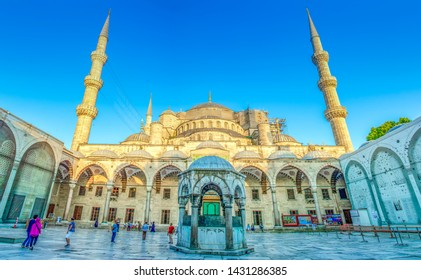 Istanbul Turkey – June 14, 2019: The Blue Mosque, (Sultanahmet Camii) and tourist group , Istanbul