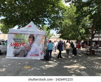 Istanbul, Turkey- June 15, 2019: Istanbul Metropolitan Municipality elections. The Republican People's Party (CHP) Ekrem Imamoglu poster