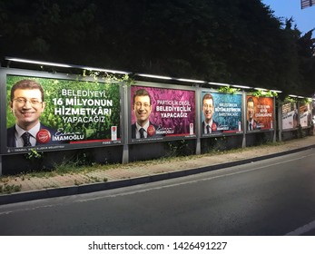 Istanbul, Turkey- June 15, 2019: Istanbul Metropolitan Municipality elections. The Republican People's Party (CHP) Ekrem Imamoglu poster
