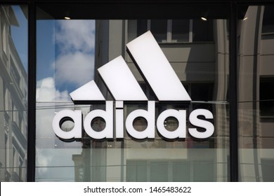 ISTANBUL, TURKEY - JUNE 15, 2019: Detail of Adidas store in Istanbul, Turkey. Adi Dassler makes his first sport shoes in his workshop near Nuremberg in Germany.