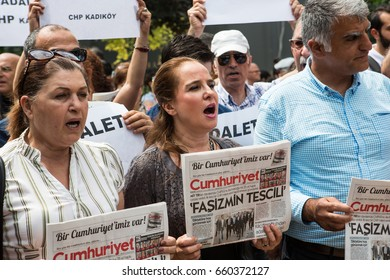 ISTANBUL, TURKEY - JUNE 15: CHP lawmaker Enis Berberoglu was sentenced to 25 years in jail for handing secret information to a newspaper on June 15, 2017 in Istanbul, Turkey.