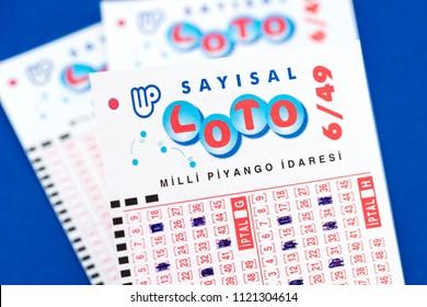 ISTANBUL, TURKEY - JUNE 17, 2018. Close up of Turkish lottery (Turkish: Sayisal Loto) ticket.