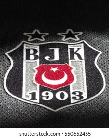 ISTANBUL, TURKEY - JUNE 20, 2016: The Logo of Besiktas Football Club of Turkey on official jersey.