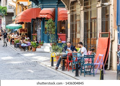 ISTANBUL, TURKEY - JUNE 20, 2019: Hip and happening area Balat in Istanbul with some trendy and popular restaurants and bars in a hipster area