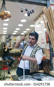 ISTANBUL, TURKEY - JUNE 20: Dondurma restaurant worker on June 20, 2015 in Istanbul, Turkey