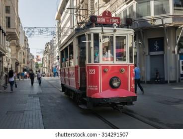 ISTANBUL, TURKEY - JUNE 20: The Taksim Tunel Nostalgia Tram on June 20, 2015 in Istanbul, Turkey