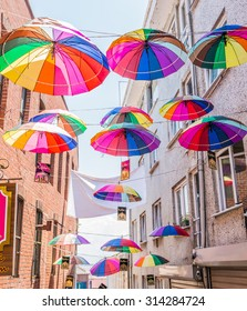 ISTANBUL, TURKEY - JUNE 20: Umbrellas near street cafe on June 20, 2015 in Istanbul, Turkey