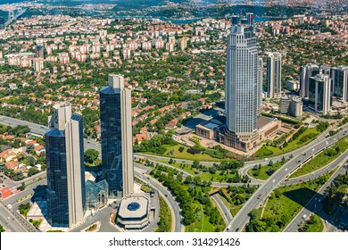 ISTANBUL, TURKEY - JUNE 20: Zincirlikuyu District in istanbul. Skyscrapers,mall and residences in Zincirlikuyu on June 20, 2015 in Istanbul, Turkey