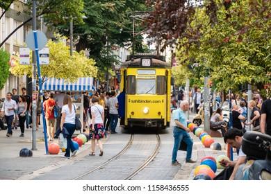 Istanbul, Turkey, June, 2018 : Colorful and nostalgic tramway street at Kadikoy.