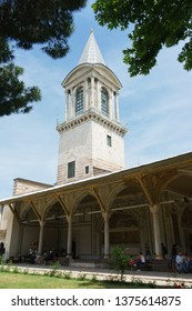 ISTANBUL, TURKEY - JUNE, 2018. Topkapi is main palace of the Ottoman Empire, built in middle of XIX century. Located historical center of Istanbul. Museum for tourists and city guests. Courtyard