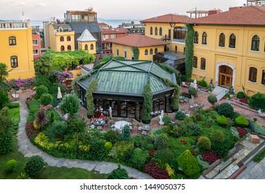 istanbul, Turkey - June 2019: Four Seasons Hotel Sultanahmet garden