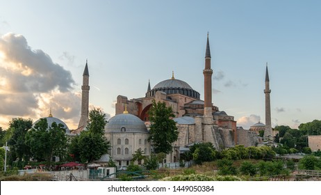 istanbul, Turkey - June 2019: Hagia Sophia Ayasofya Museum in Sultanahmet Square park, istanbul, Turkey