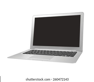 """Istanbul, Turkey - June 21, 2010: An angled front view of a 13"""" Apple MacBook Air displaying a blank black screen. The MacBook Air is thinnest, lightest notebook and features flash based storage."""