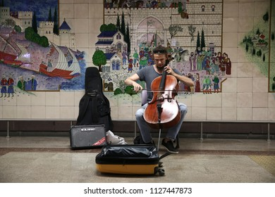 Istanbul, Turkey - June 21, 2018: Street musicians performing with their instruments in Istiklal Avenue, Beyoglu, Istanbul. The avenue is one of the most popular attraction spot for both locals