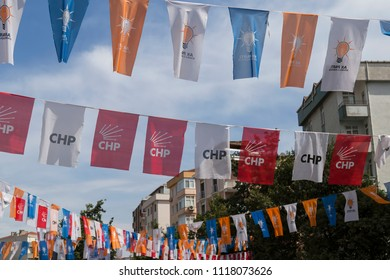 Istanbul/ Turkey - June 21,2018 ; Turkish Presidency and parliamentary elections to be held in June 2018. Chp and Akp flags on the street.