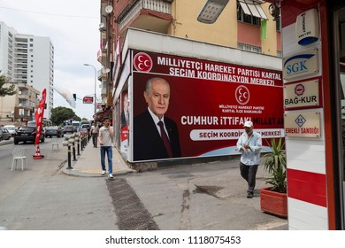 Istanbul/ Turkey - June 21,2018 ; Turkish Presidency and parliamentary elections to be held in June 2018 .Devlet Bahceli, leader of Turkey's political Party (MHP).