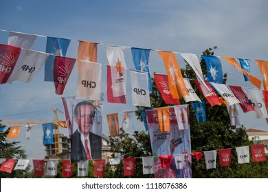 Istanbul/ Turkey - June 21,2018 ; Turkish Presidency and parliamentary elections to be held in June 2018. AKP and CHP flags on the street.