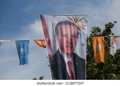 Istanbul/ Turkey - June 21,2018 ; Turkish Presidency and parliamentary elections to be held in June 2018. AKP flags on the street.Recep Tayyip Erdogan leader of Turkey's political Party.