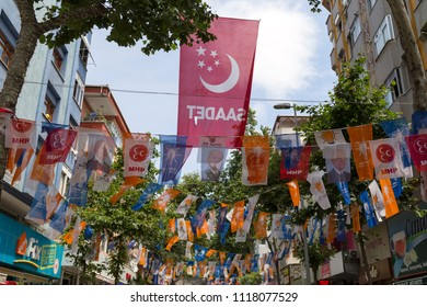 Istanbul/ Turkey - June 21,2018 ; Turkish Presidency and parliamentary elections to be held in June 2018.AKP ,CHP and  Saadet flags on the street.