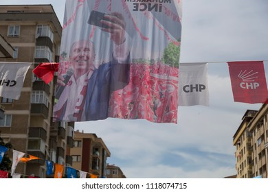 Istanbul/ Turkey -June 21,2018;Turkish Presidency and parliamentary elections to be held in June 2018 . Muharrem Ince, leader of Turkey's main opposition Republican People's Party (CHP).