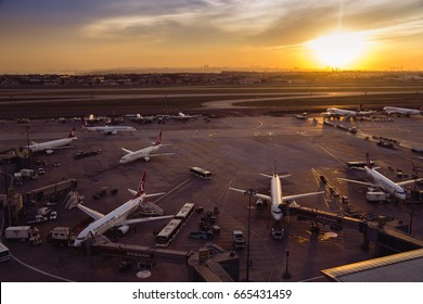 Istanbul, Turkey; June 22, 2017: Ataturk Airport During the sunset, where is the most busiest airport in the middle east