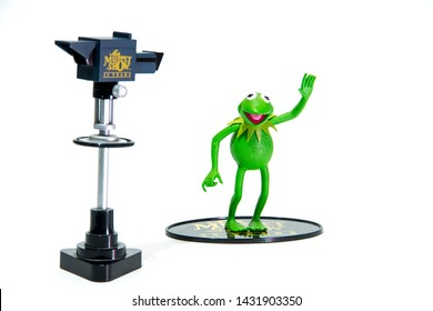 Istanbul, Turkey - JUNE 23, 2019: ToyFare Exclusive by Palisades. The Muppet Show KERMIT THE FROG. Made in 2002 by Palisades Toys and long out of production. see Larger Picture at Bottom.