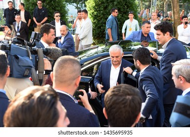 ISTANBUL, Turkey- June  23, 2019: Turkish ruling Justice and Development Party (AKP) Istanbul mayoral candidate Binali Yildirim,  at his party's Istanbul headquarters in Istanbul.