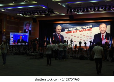 ISTANBUL, Turkey- June  23, 2019: Binali Yildirim mayoral candidate for Istanbul makes statements at Turkey's ruling Justice and Development Party, AKP, offices in Istanbul.