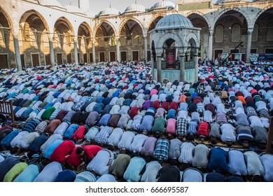 ISTANBUL, TURKEY - JUNE 23: People praying at Ramadan kareem in Blue Mosque on June 23, 2017 in Istanbul, Turkey.