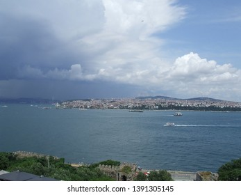 Istanbul, Turkey - June 24, 2010: Panoramic view of Bosphorus strait with the mighty thunder front approaching to the city