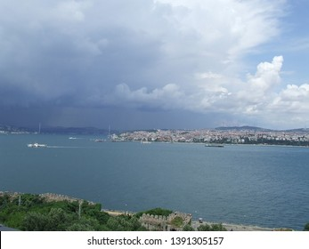 Istanbul, Turkey - June 24, 2010: Mighty thunder front over the coasts of Bosphorus strait and the city