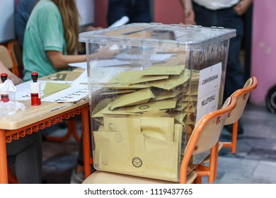 Istanbul, Turkey, June 24, 2018. General Election in Turkey. Election day. Turkish Presidential Election 2018.