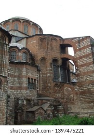 Istanbul, Turkey - June 25, 2010: Part of the rear facade of byzantine Chora church (Kariye) with the mighty buttress