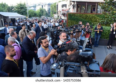 ISTANBUL, Turkey- June 26, 2019:Justice and Development Party supporters in central Istanbul