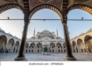 ISTANBUL, TURKEY - JUNE 26: Courtyard and corridor of the Blue Mosque (Sultanahmet Camii) on June 26, 2014 in Istanbul. It was built from 1609 to 1616, during the rule of Sultan Ahmed I.