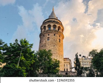Istanbul, Turkey - June 27, 2018: Galata Tower, one of Istanbul's most significant architectural landmarks located in Beyoglu, Istanbul. Sunset scene with cloudscape.