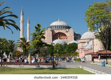 ISTANBUL, TURKEY, JUNE 27, 2019: People walking at Sultanahmet Square, Hagia Sophia can be seen at the background. Sultanahmet District is the heart of old Istanbul.