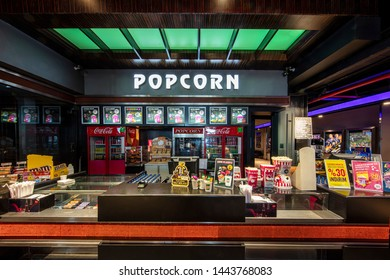 Istanbul, Turkey - June 29, 2019; View of Popcorn and Soft Drink Shop of Istanbul Cinemaximum Istanbul Cinemaximum is the largest movie theatre in Istanbul, Turkey.