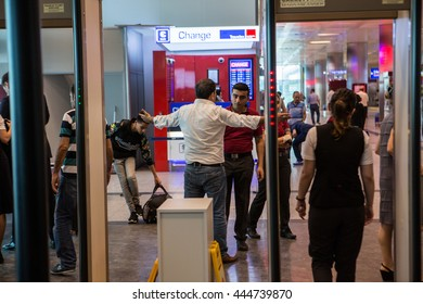 ISTANBUL, TURKEY - JUNE 29: Pessangers wait in security checkpoint after a suicide bomb attack at Ataturk Airport in Istanbul on June 29, 2016 in Istanbul, Turkey.