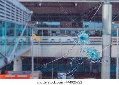 ISTANBUL, TURKEY - JUNE 29: Suicide bomb attack at Ataturk Airport in Istanbul on June 29, 2016 in Istanbul, Turkey. Bullet hole in glass