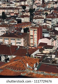 Istanbul, Turkey - June 3, 2018: Aerial view of Kasimpasa neighborhood in Beyoglu, Istanbul. One of the most crowded districts of the city. Residential area with roofs and terraces.