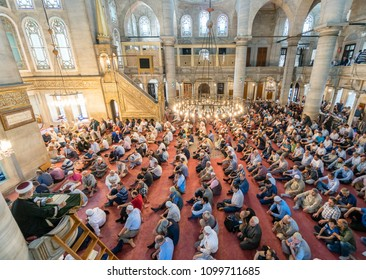 ISTANBUL, TURKEY - JUNE 3: Eyup Sultan mosque muslims who pray, June 3,  2017 in Istanbul Turkey. Eyup mosque was built in 1458 and the mosque of Istanbul is the most visited.