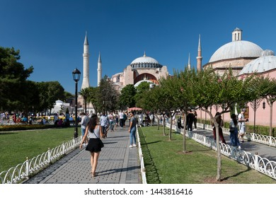 ISTANBUL, TURKEY, JUNE 5, 2019: People walking at Sultanahmet Square, Hagia Sophia can be seen at the background. Sultanahmet District is the heart of old Istanbul.