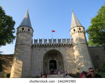ISTANBUL, TURKEY - JUNE 5, 2019: The main entrance of Topkapi Palace in Istanbul, Turkey. Topkapi Palace served Ottoman Sultans starting from the 15th century until about 18th century.