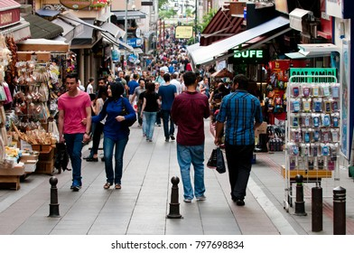 Istanbul, Turkey - June 7, 2015: A lot of people walking in Kadikoy district