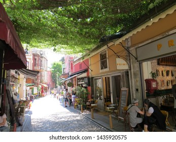 ISTANBUL, TURKEY - JUNE 7, 2019: Street Views from the Balat District of Istanbul. Balat is one of the oldest neighborhoods of Istanbul located in Fatih District.