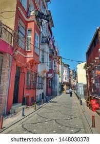 ISTANBUL, TURKEY - JUNE 7, 2019: Colorful streets of Balat, Istanbul. Balat is a cosmopolitan neighborhood of Istanbul with Greek, Armenian and Jewish communities.