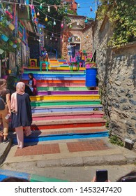 ISTANBUL, TURKEY - JUNE 7, 2019: Rainbow stairs in Balat district of Istanbul. Balat is a cosmopolitan neighborhood in Istanbul.
